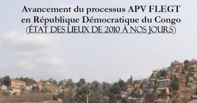 Avancement du processus APV FLEGT en République Démocratique du Congo (État des lieux de 2010 à nos jours)