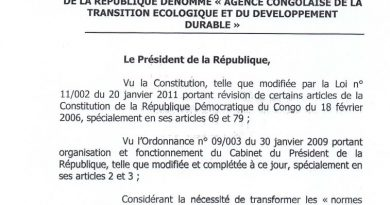 ORDONNANCE N°20013 DU 28 FEVRIER 2020 PORTANT CREATION DE L'AGENCE CONGOLAISE DE LA TRANSITION ECOLOGIQUE ET DU DEVELOPPEMENT DURABLE