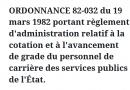 ORDONNANCE 82-032 du 19 mars 1982 portant règlement d'administration relatif à la cotation et à l'avancement de grade du personnel de carrière des services publics de l'État.