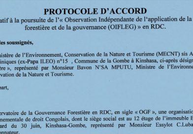 Protocole d'accord relatif à la poursuite de l'Observation Indépendante de l'application de la loi Forestière et de la gouvernance (OIFLEG) en RDC