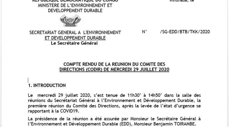 COMPTE RENDU DE LA REUNION DU COMITE DES DIRECTIONS (CODIR) DE MERCREDI 29 JUILLET 2020