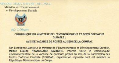 Communiqué du ministère de l Environnement et développement durable relatif à un avis de vacance de postes au sein de la commission des forêts d'Afrique centrale(comifac)