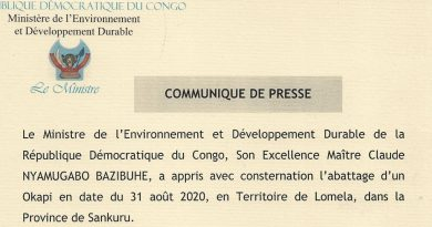 Abattage d'un Okapi en date du 31 août 2020,dans la Province de Sankuru, Son Excellence Maître Claude NYAMUGABO BAZIBUHE, Ministre de l'Environnement et Développement Durable tire l'attention de l'opinion nationale qu'internationale.