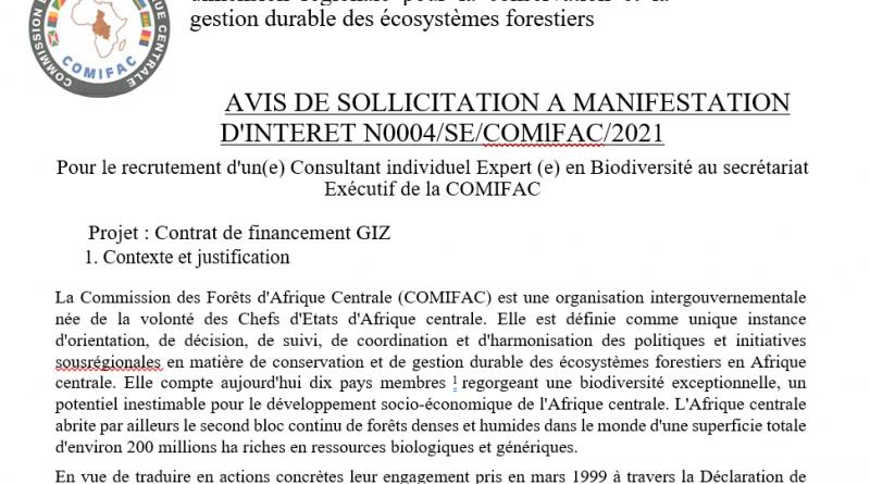 Recrutement d'un(e) Consultant individuel Expert (e) en Biodiversité au secrétariat Exécutif de la COMIFAC