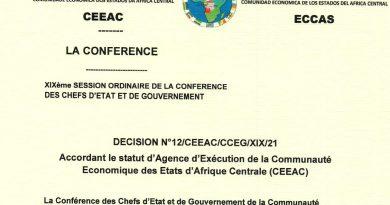Décision N°12/CEEAC/CCEG/XIX/21 accordant le statut d'Agence d'Exécution de la Communauté Economique des Etats d'Afrique Centrale (CEEAC)